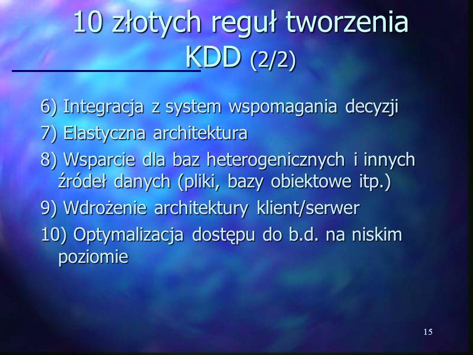 10 złotych reguł tworzenia KDD (2/2)