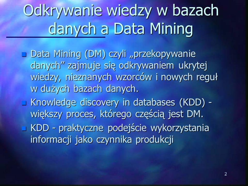 Odkrywanie wiedzy w bazach danych a Data Mining