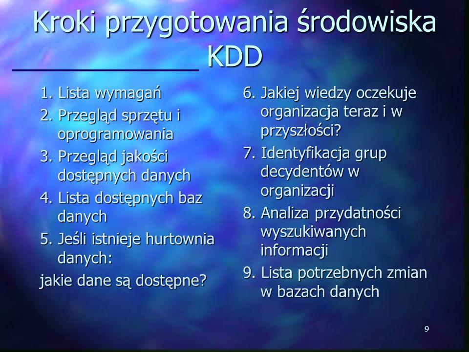 Kroki przygotowania środowiska KDD