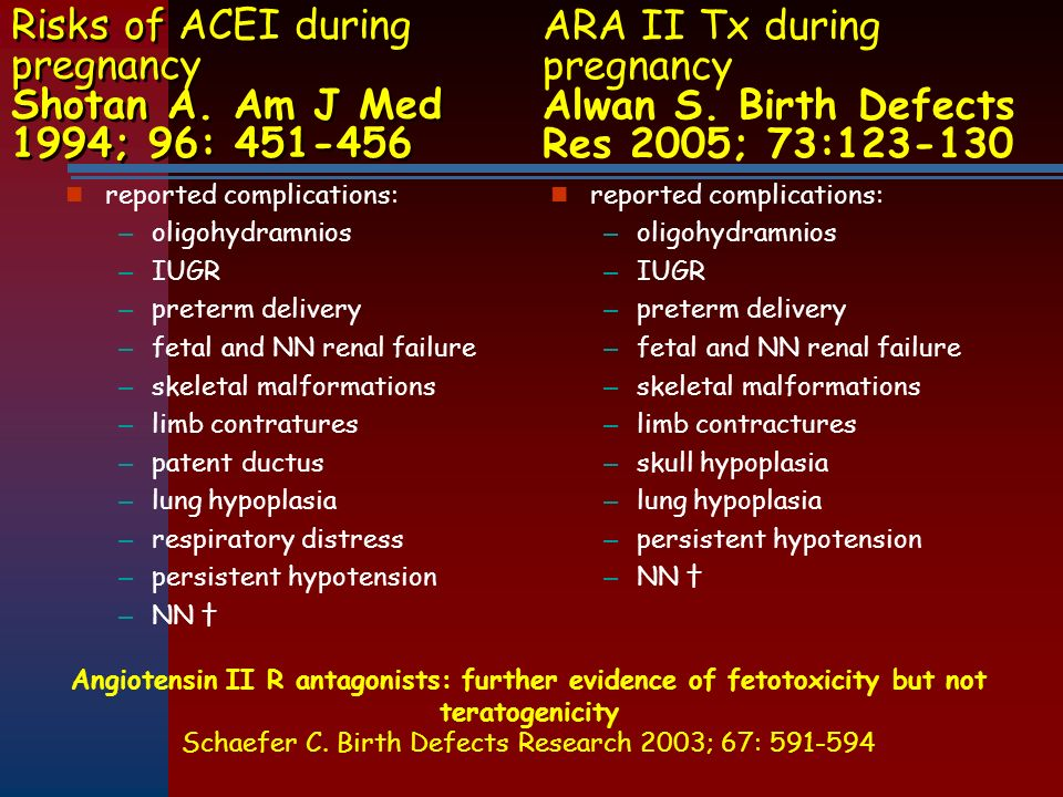 Risks of ACEI during pregnancy Shotan A. Am J Med 1994; 96: 451-456