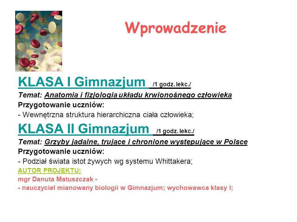 Wprowadzenie KLASA I Gimnazjum /1 godz. lekc./