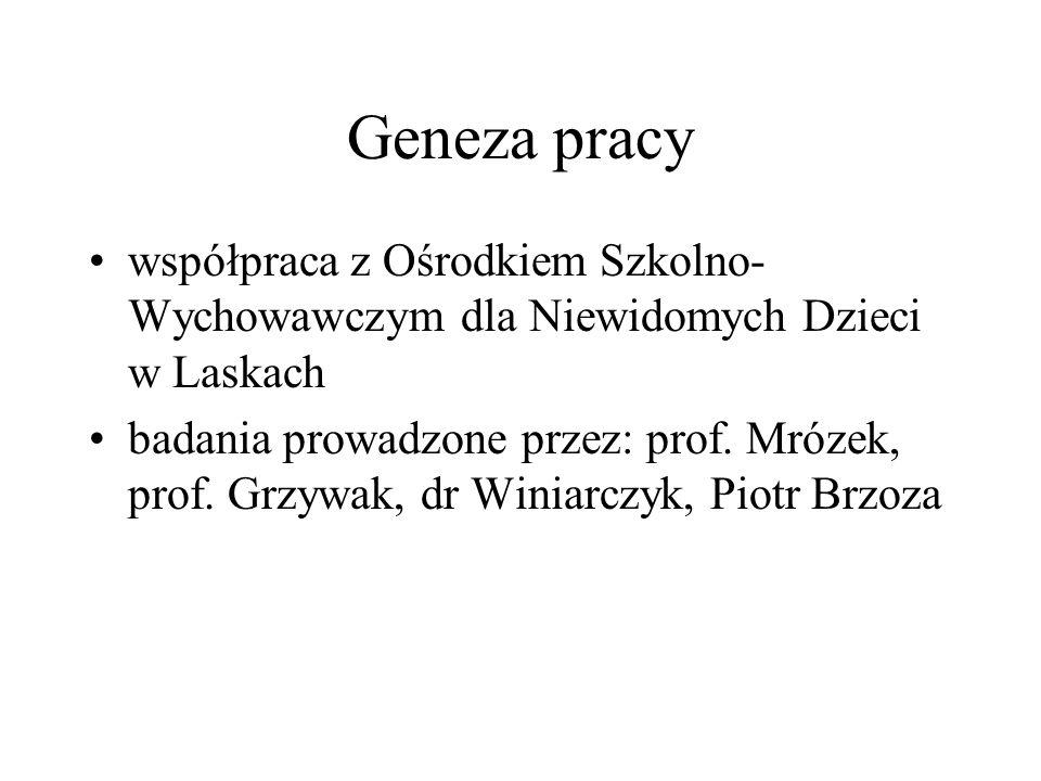 Geneza pracy współpraca z Ośrodkiem Szkolno-Wychowawczym dla Niewidomych Dzieci w Laskach.