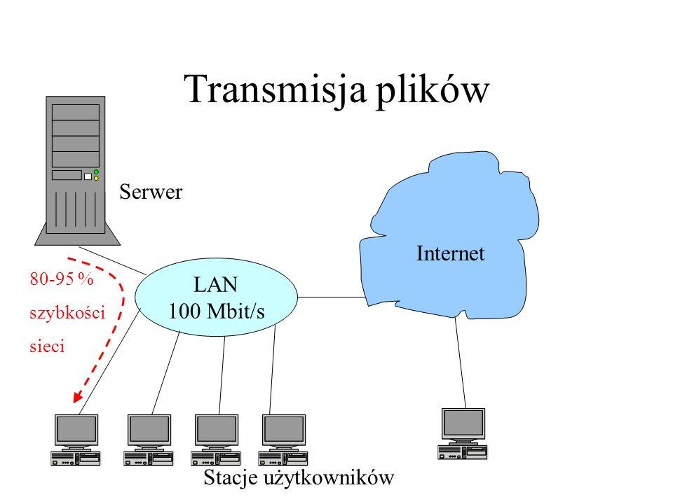 Transmisja plików Serwer Internet LAN 100 Mbit/s Stacje użytkowników