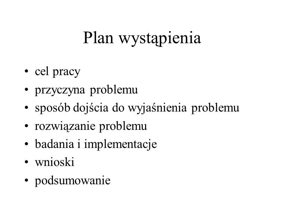 Plan wystąpienia cel pracy przyczyna problemu