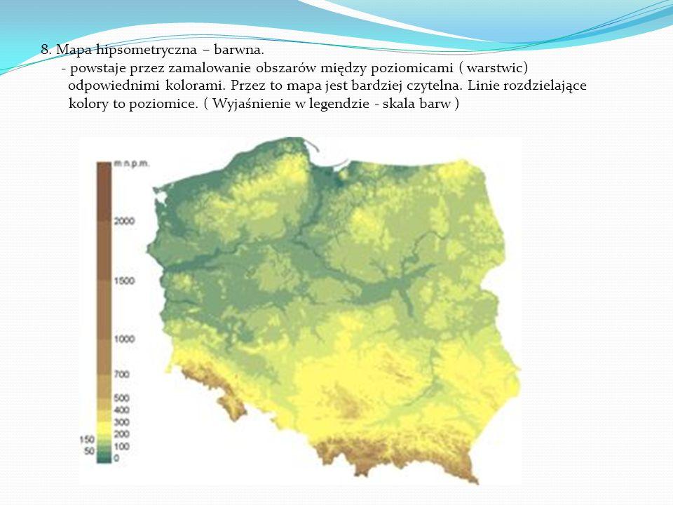 8. Mapa hipsometryczna – barwna