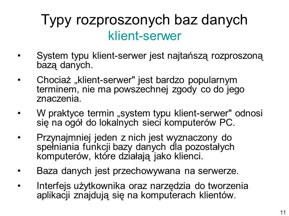 Typy rozproszonych baz danych klient-serwer