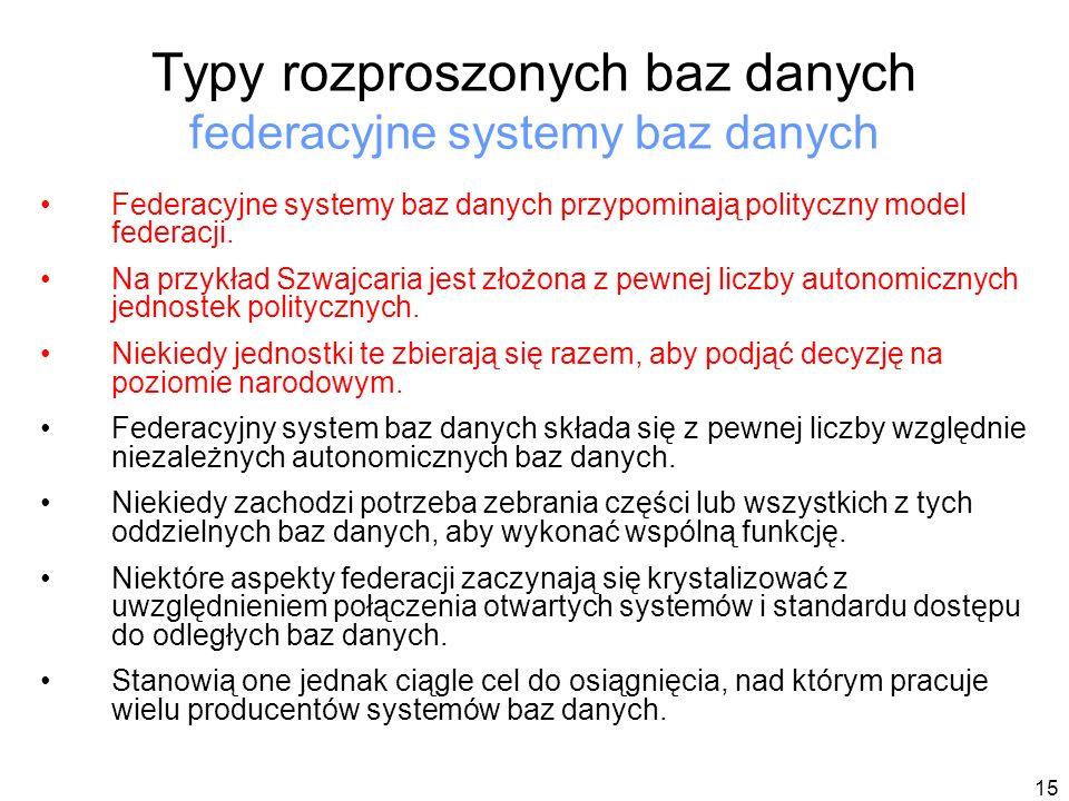 Typy rozproszonych baz danych federacyjne systemy baz danych