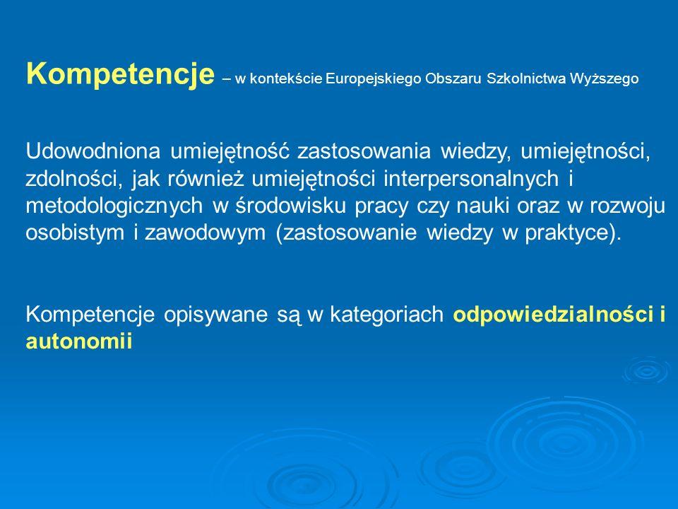Kompetencje – w kontekście Europejskiego Obszaru Szkolnictwa Wyższego