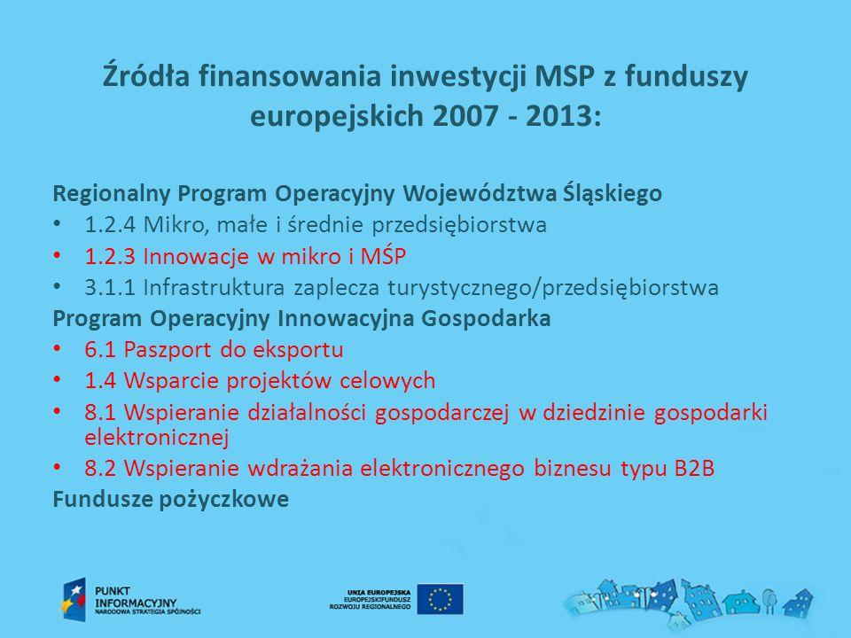 Źródła finansowania inwestycji MSP z funduszy europejskich 2007 - 2013: