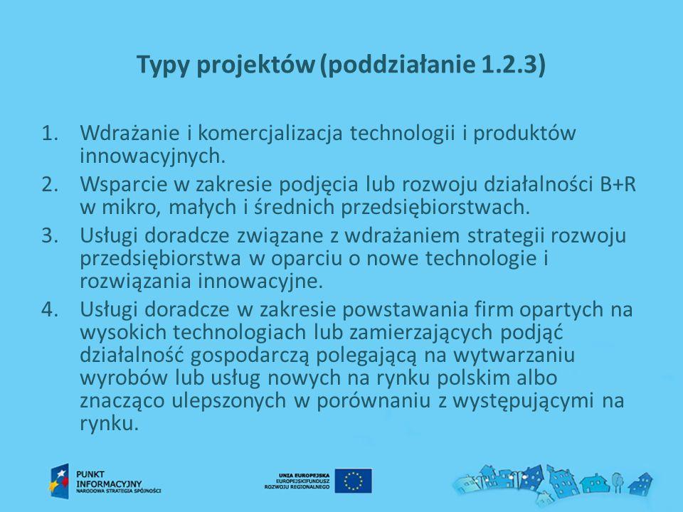 Typy projektów (poddziałanie 1.2.3)