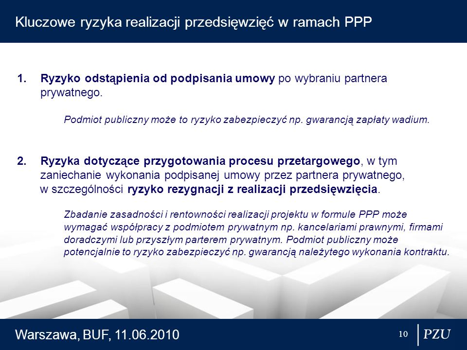 Kluczowe ryzyka realizacji przedsięwzięć w ramach PPP