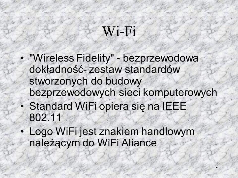 Wi-Fi Wireless Fidelity - bezprzewodowa dokładność- zestaw standardów stworzonych do budowy bezprzewodowych sieci komputerowych.