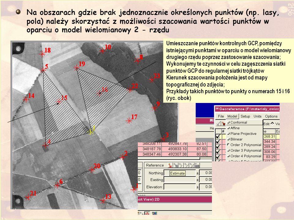 Na obszarach gdzie brak jednoznacznie określonych punktów (np