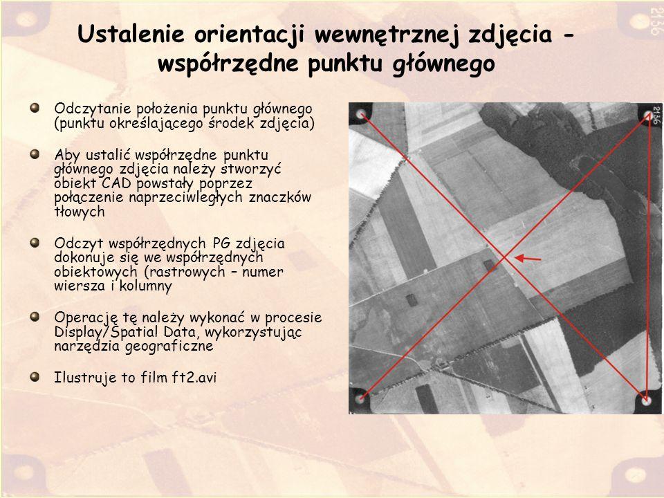 Ustalenie orientacji wewnętrznej zdjęcia - współrzędne punktu głównego