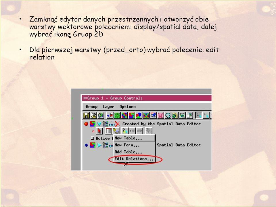 Zamknąć edytor danych przestrzennych i otworzyć obie warstwy wektorowe poleceniem: display/spatial data, dalej wybrać ikonę Gruop 2D