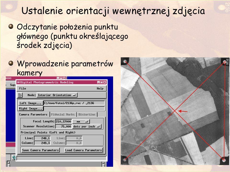 Ustalenie orientacji wewnętrznej zdjęcia