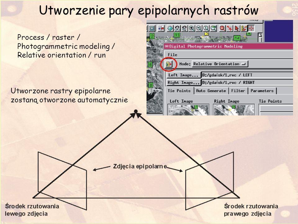 Utworzenie pary epipolarnych rastrów