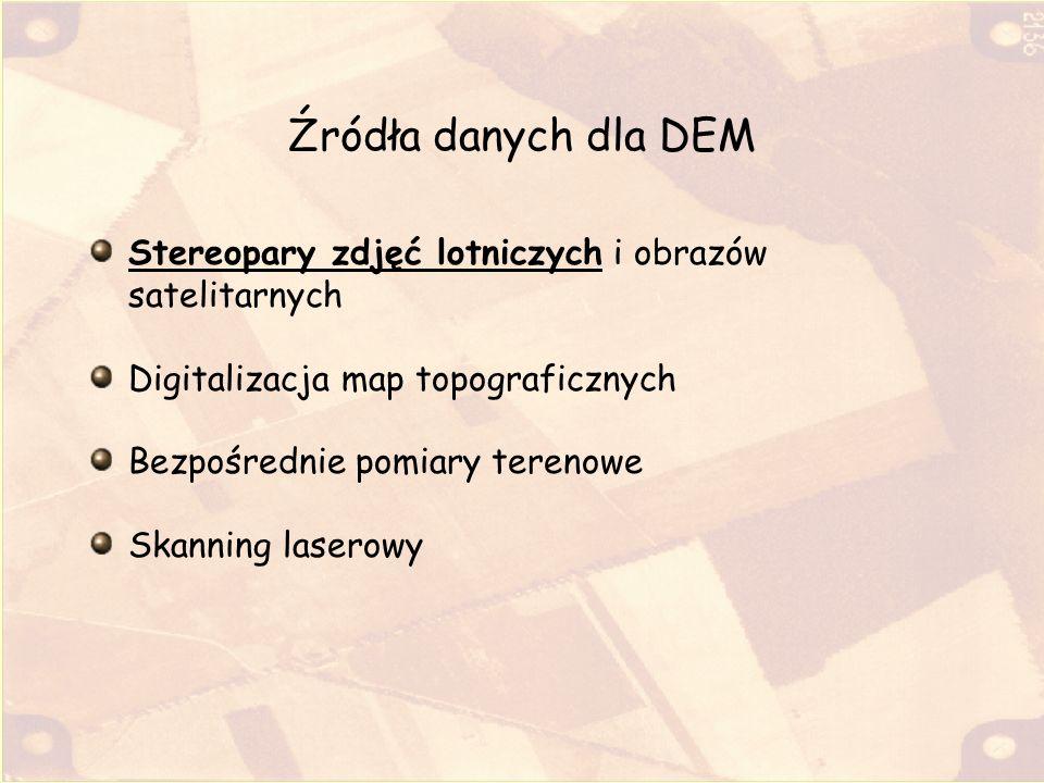 Źródła danych dla DEM Stereopary zdjęć lotniczych i obrazów satelitarnych. Digitalizacja map topograficznych.