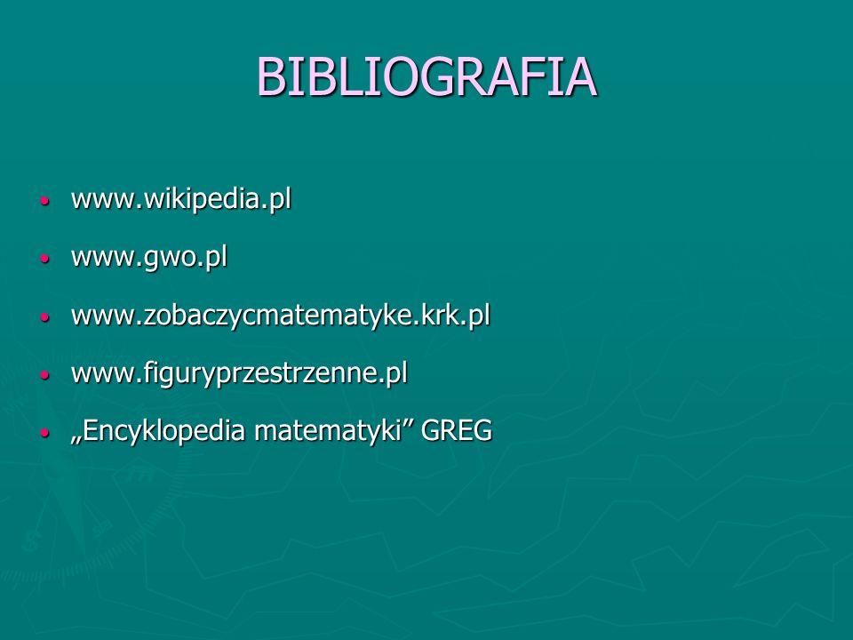 BIBLIOGRAFIA www.wikipedia.pl www.gwo.pl www.zobaczycmatematyke.krk.pl