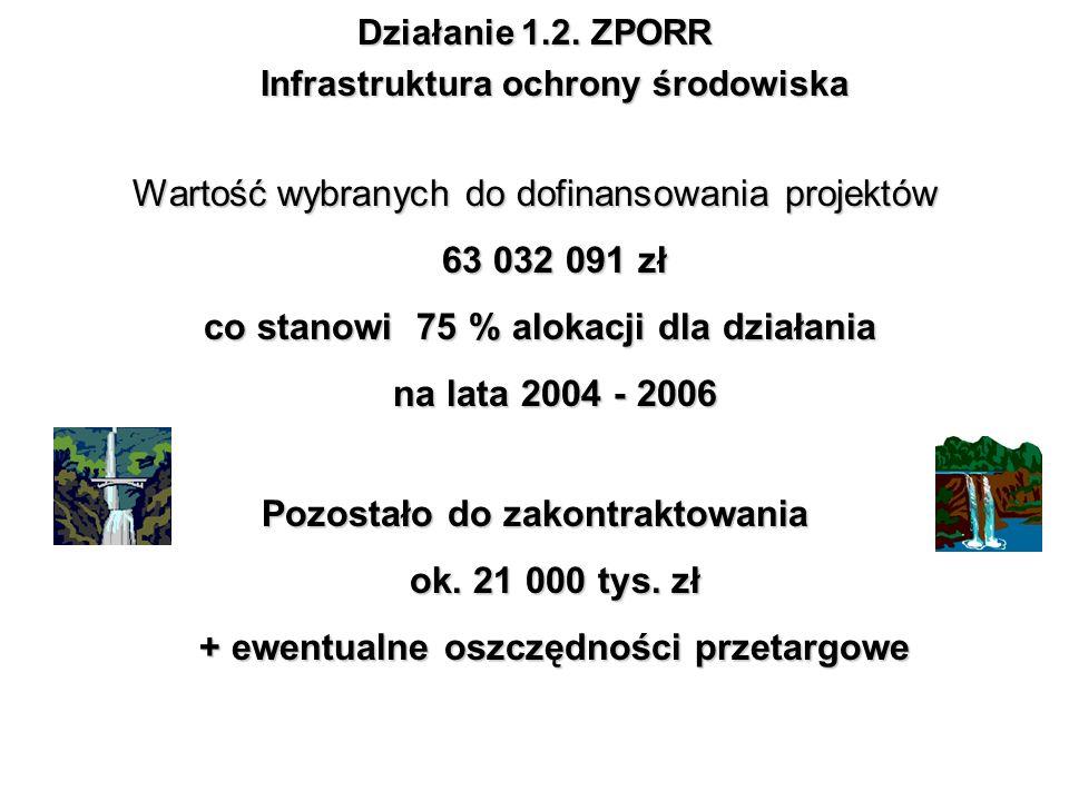 Wartość wybranych do dofinansowania projektów 63 032 091 zł