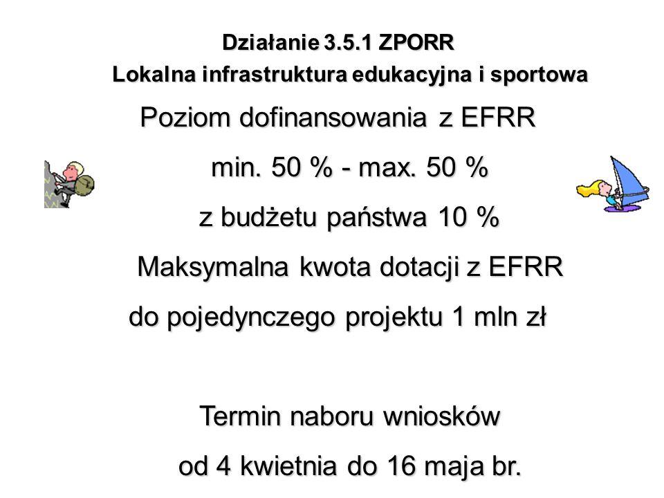 Działanie 3.5.1 ZPORR Lokalna infrastruktura edukacyjna i sportowa