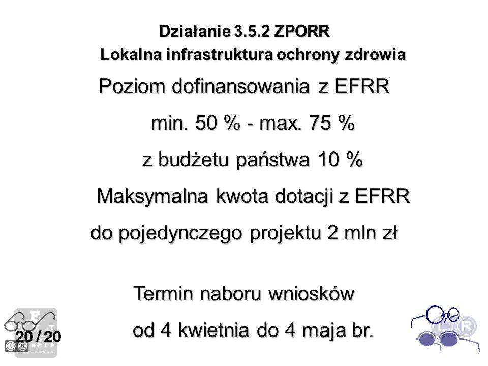 Działanie 3.5.2 ZPORR Lokalna infrastruktura ochrony zdrowia