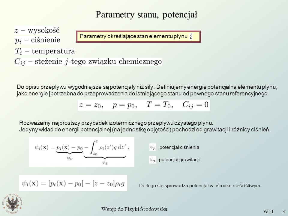 Parametry stanu, potencjał