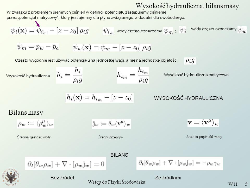Wysokość hydrauliczna, bilans masy