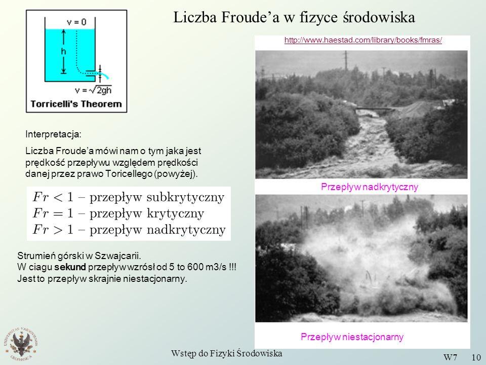 Liczba Froude'a w fizyce środowiska