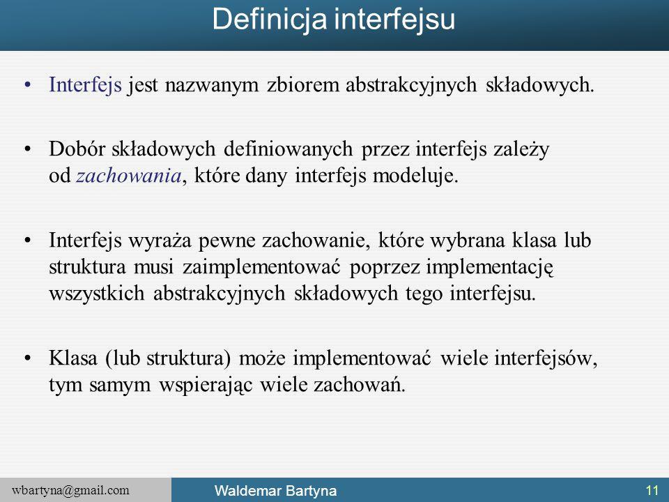 Definicja interfejsu Interfejs jest nazwanym zbiorem abstrakcyjnych składowych.