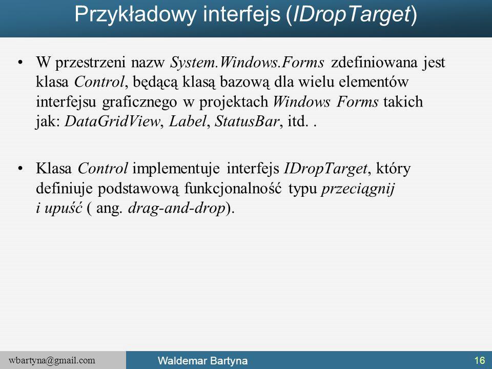 Przykładowy interfejs (IDropTarget)