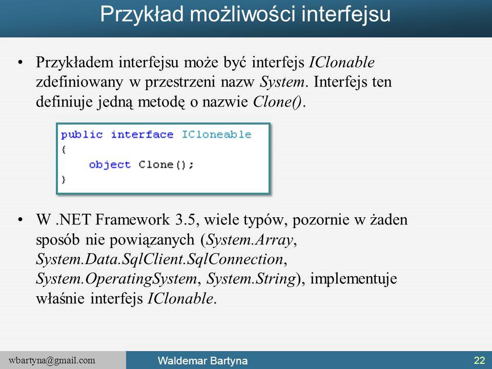 Przykład możliwości interfejsu