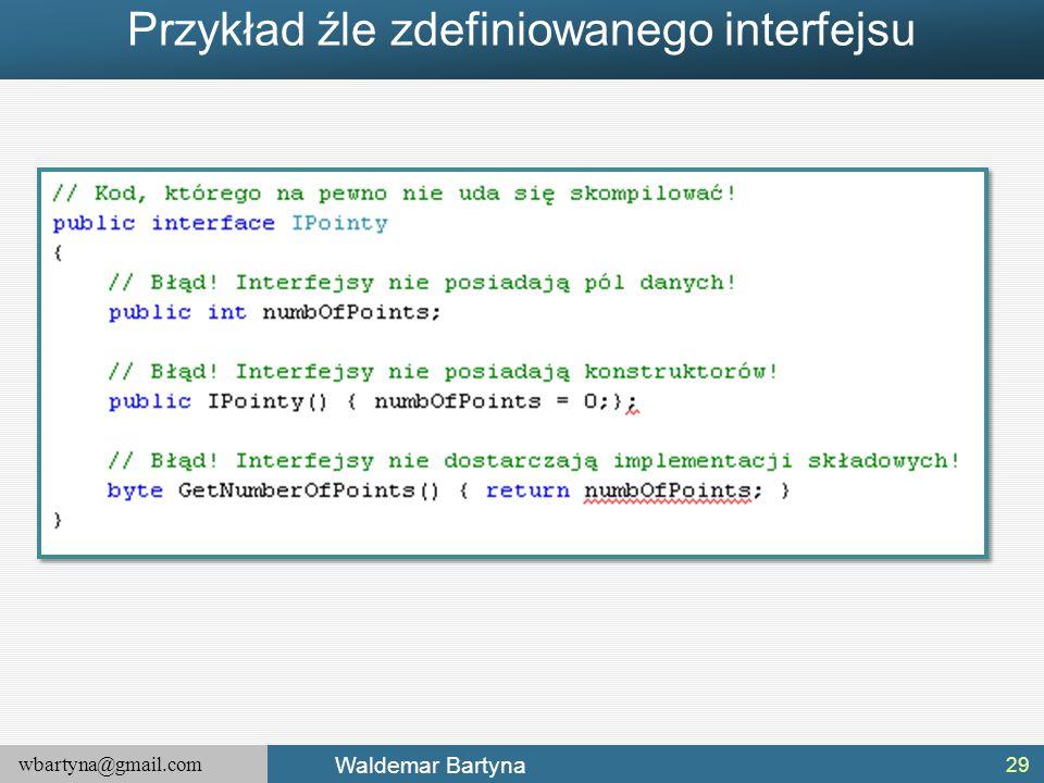 Przykład źle zdefiniowanego interfejsu