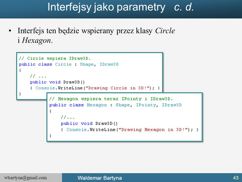 Interfejsy jako parametry c. d.