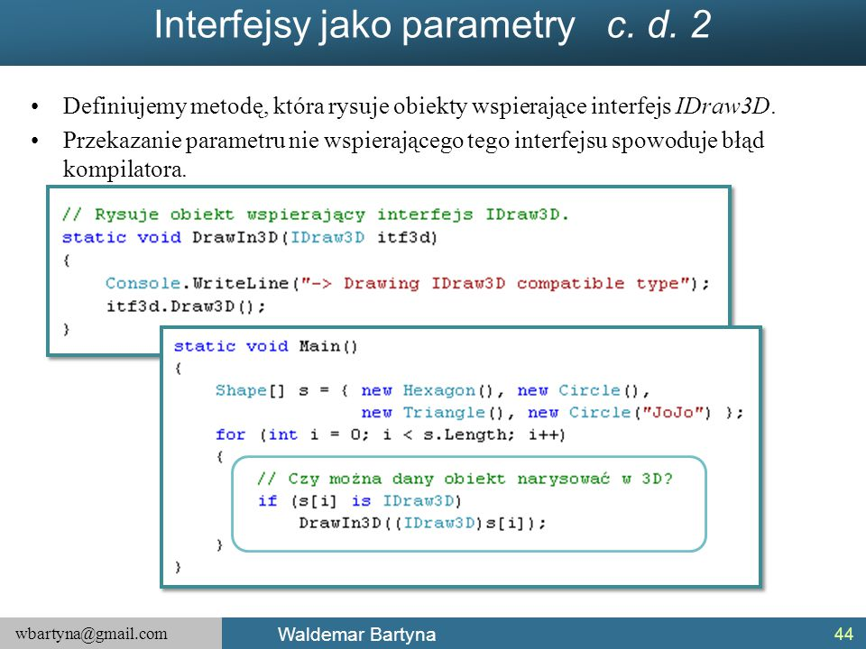 Interfejsy jako parametry c. d. 2