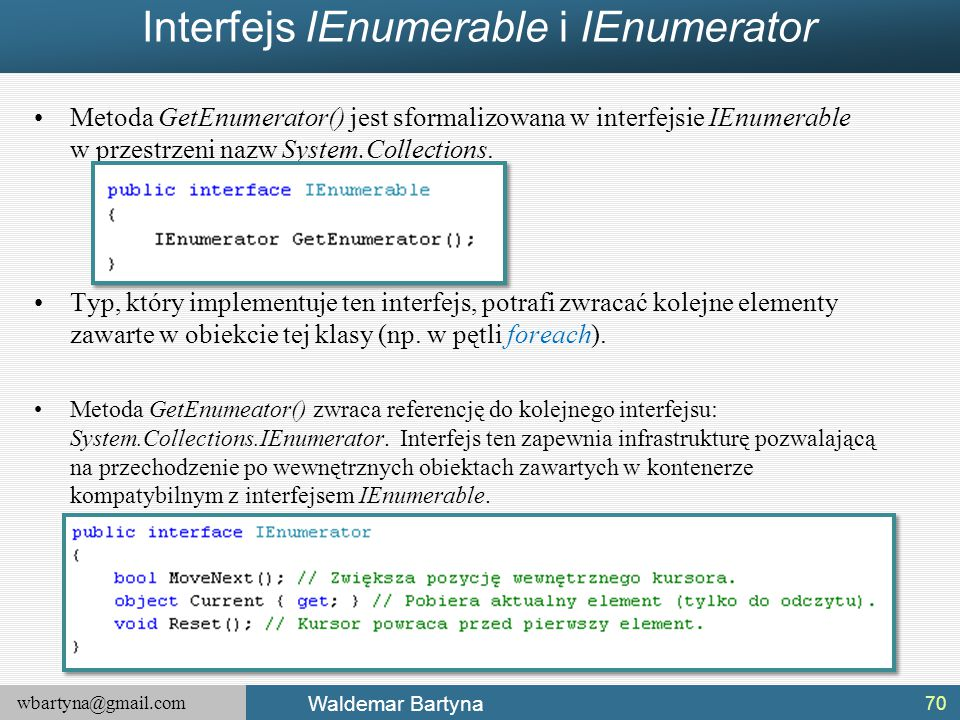 Interfejs IEnumerable i IEnumerator