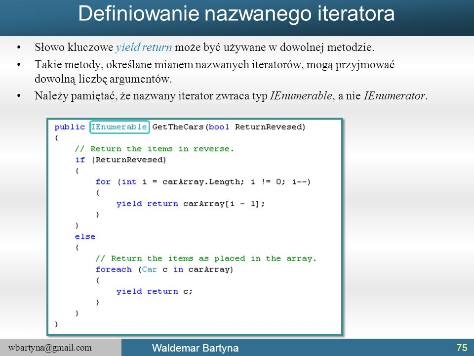 Definiowanie nazwanego iteratora