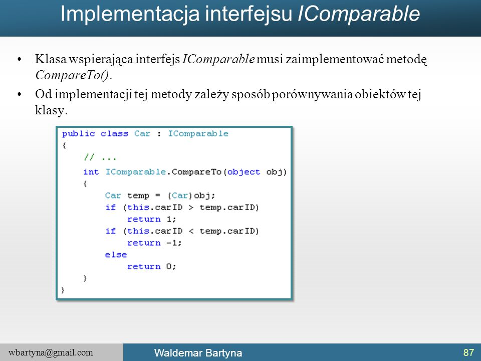 Implementacja interfejsu IComparable