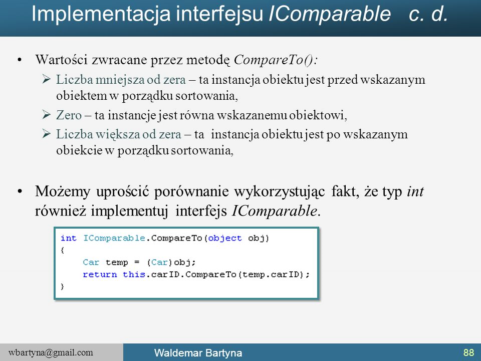 Implementacja interfejsu IComparable c. d.