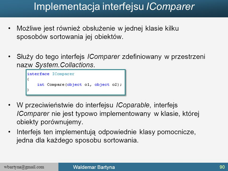 Implementacja interfejsu IComparer