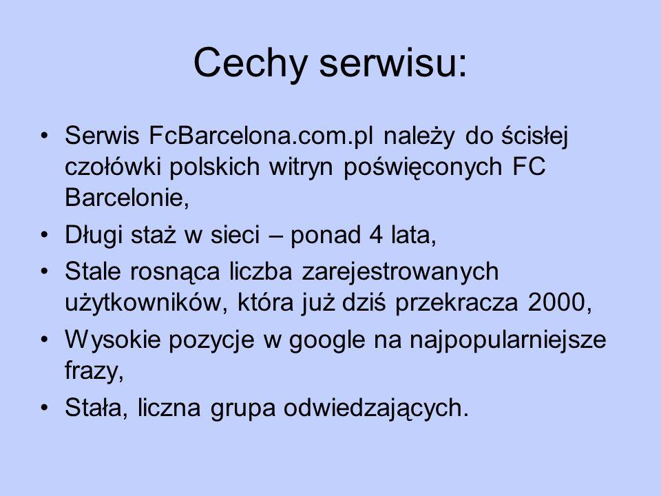 Cechy serwisu:Serwis FcBarcelona.com.pl należy do ścisłej czołówki polskich witryn poświęconych FC Barcelonie,