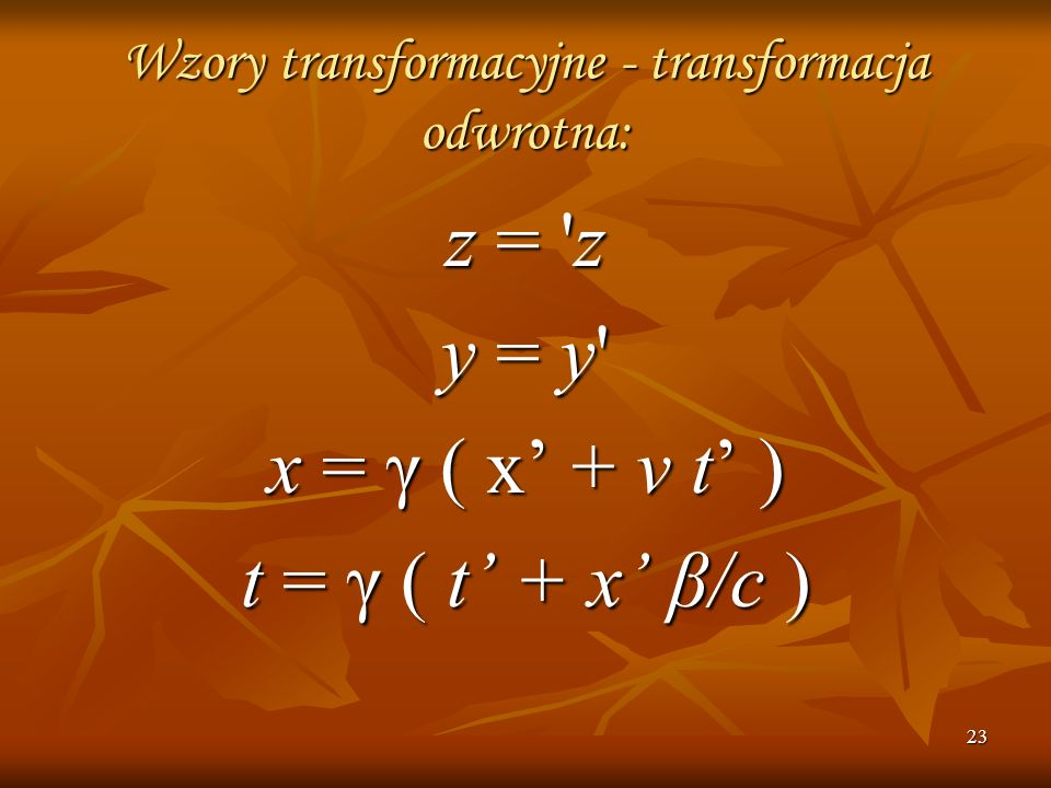 Wzory transformacyjne - transformacja odwrotna: