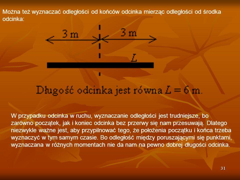 Można też wyznaczać odległości od końców odcinka mierząc odległości od środka odcinka: