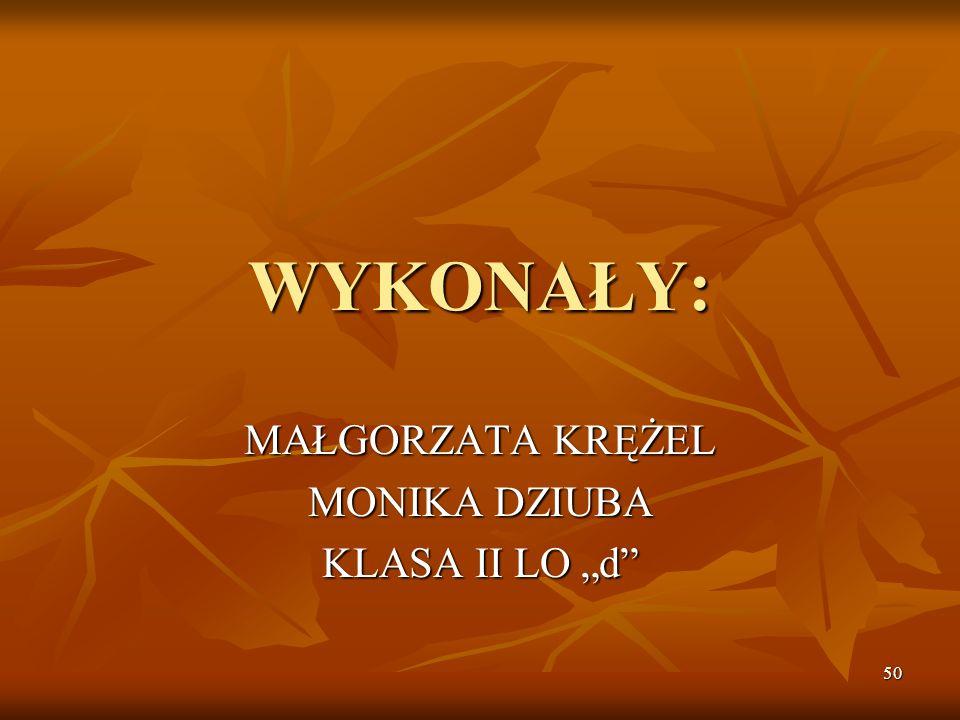 "MAŁGORZATA KRĘŻEL MONIKA DZIUBA KLASA II LO ""d"