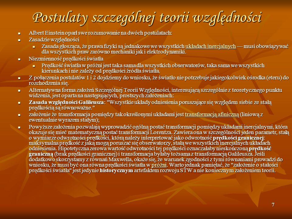 Postulaty szczególnej teorii względności