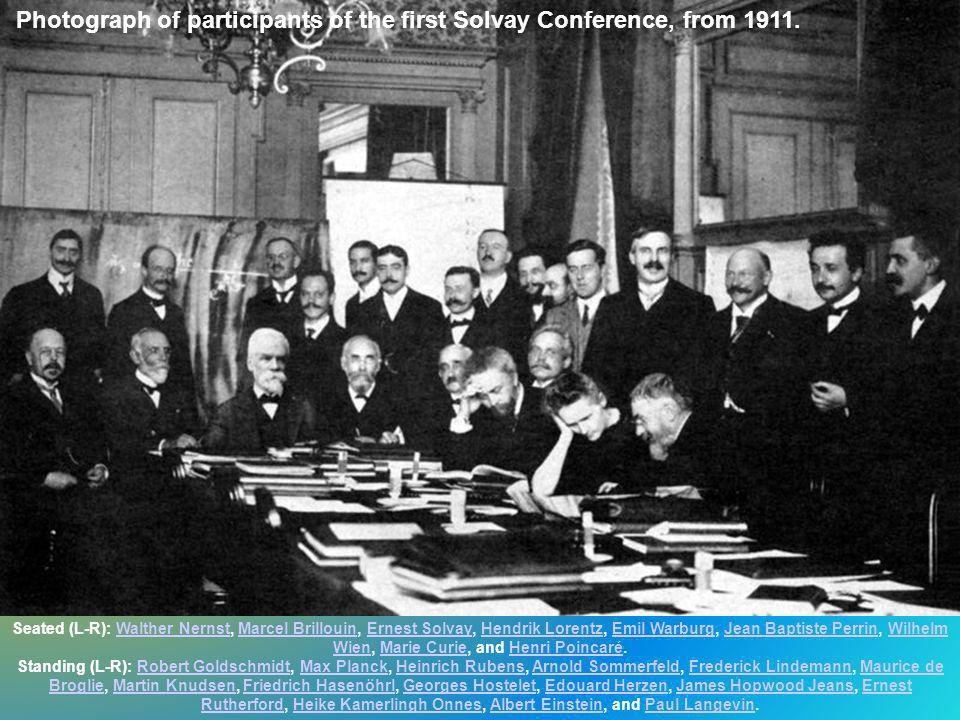 Photograph of participants of the first Solvay Conference, from 1911.