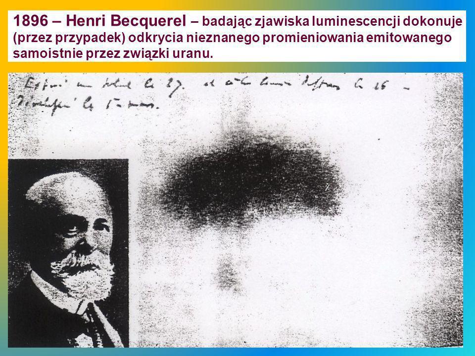1896 – Henri Becquerel – badając zjawiska luminescencji dokonuje