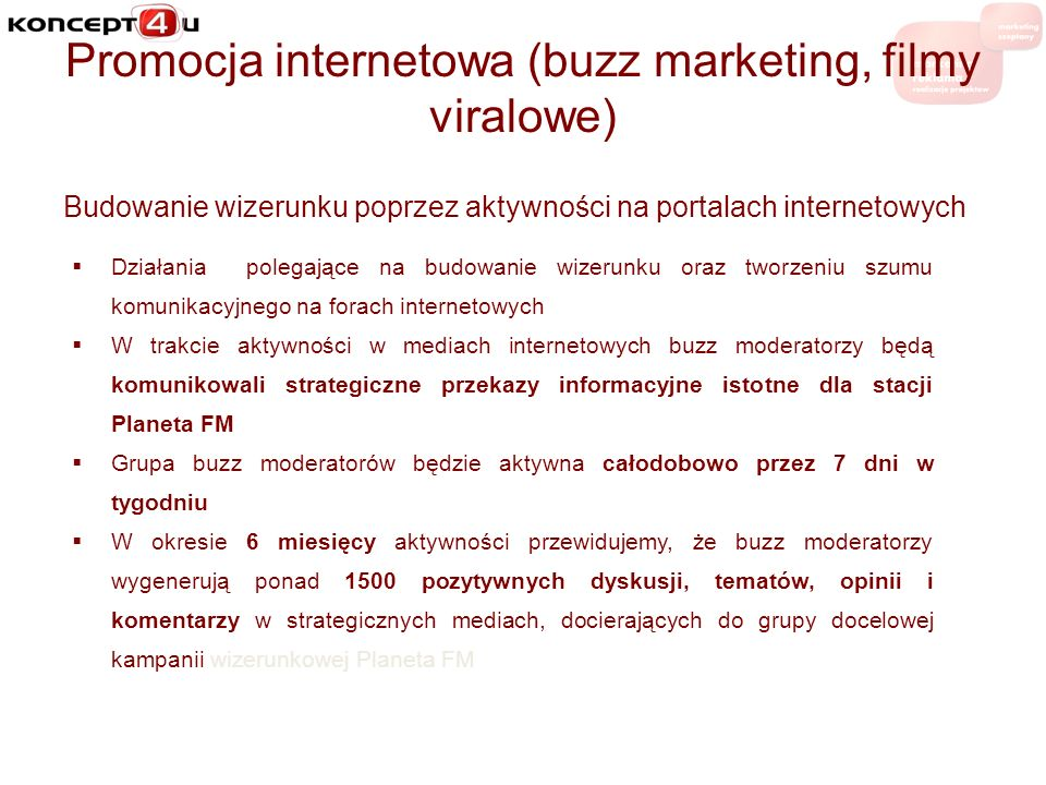 Promocja internetowa (buzz marketing, filmy viralowe)