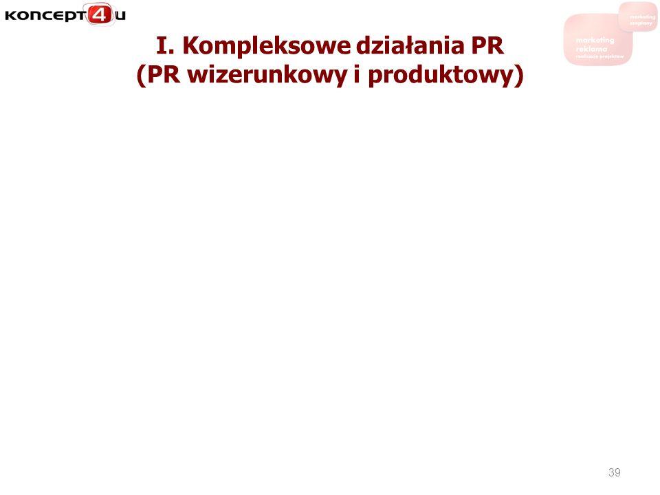 I. Kompleksowe działania PR (PR wizerunkowy i produktowy)