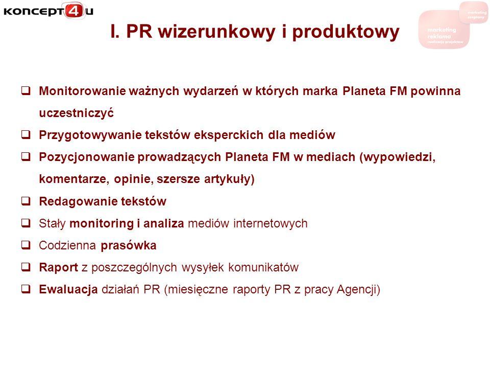 I. PR wizerunkowy i produktowy